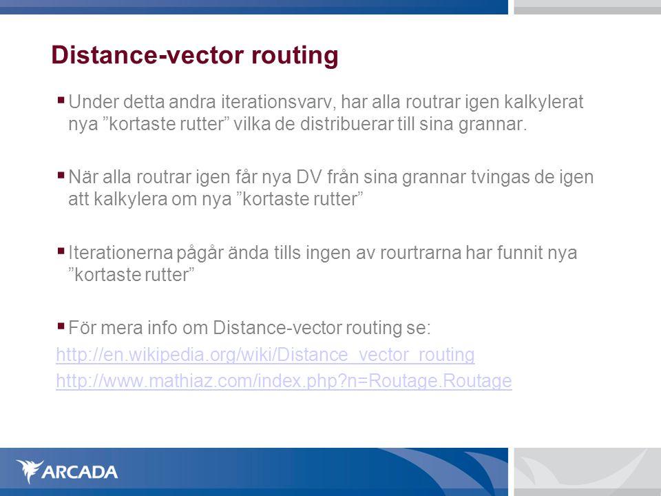 Distance-vector routing  Under detta andra iterationsvarv, har alla routrar igen kalkylerat nya kortaste rutter vilka de distribuerar till sina grannar.