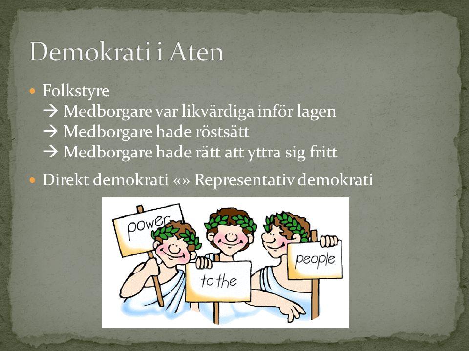 Folkstyre  Medborgare var likvärdiga inför lagen  Medborgare hade röstsätt  Medborgare hade rätt att yttra sig fritt Direkt demokrati «» Representa