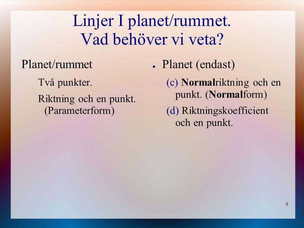 9 Linjer I planet/rummet. Vad behöver vi veta? ● Planet (endast) (c) Normalriktning och en punkt. (Normalform) (d) Riktningskoefficient och en punkt.
