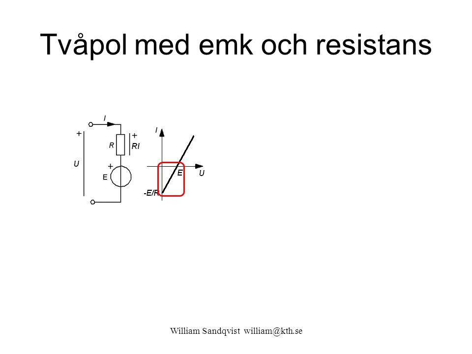 William Sandqvist william@kth.se Tvåpol med emk och resistans