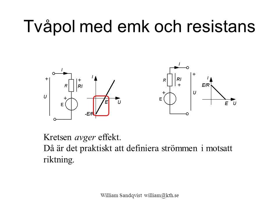 William Sandqvist william@kth.se Tvåpol med emk och resistans Kretsen avger effekt. Då är det praktiskt att definiera strömmen i motsatt riktning.