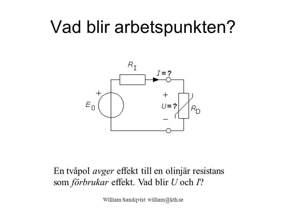 Vad blir arbetspunkten? William Sandqvist william@kth.se En tvåpol avger effekt till en olinjär resistans som förbrukar effekt. Vad blir U och I?