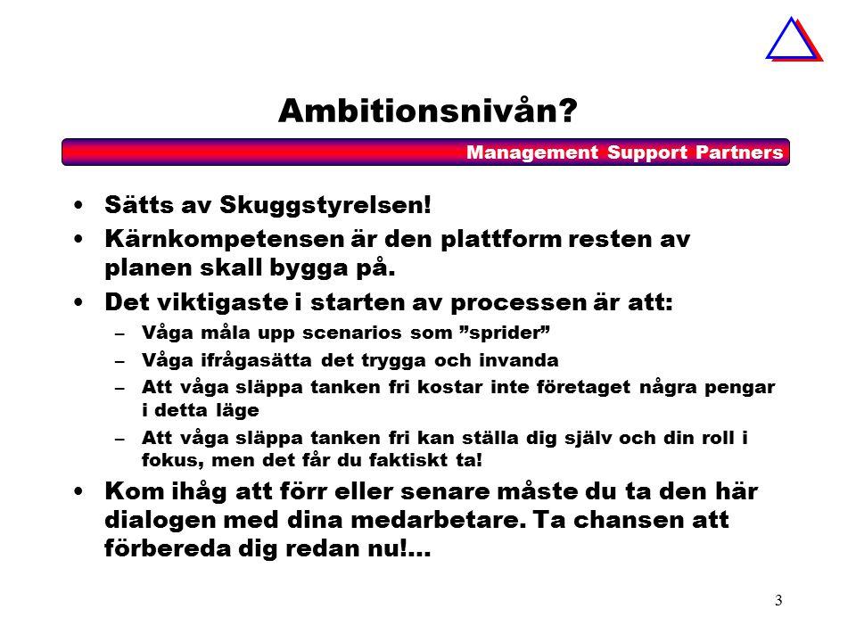 Management Support Partners 3 Ambitionsnivån. Sätts av Skuggstyrelsen.