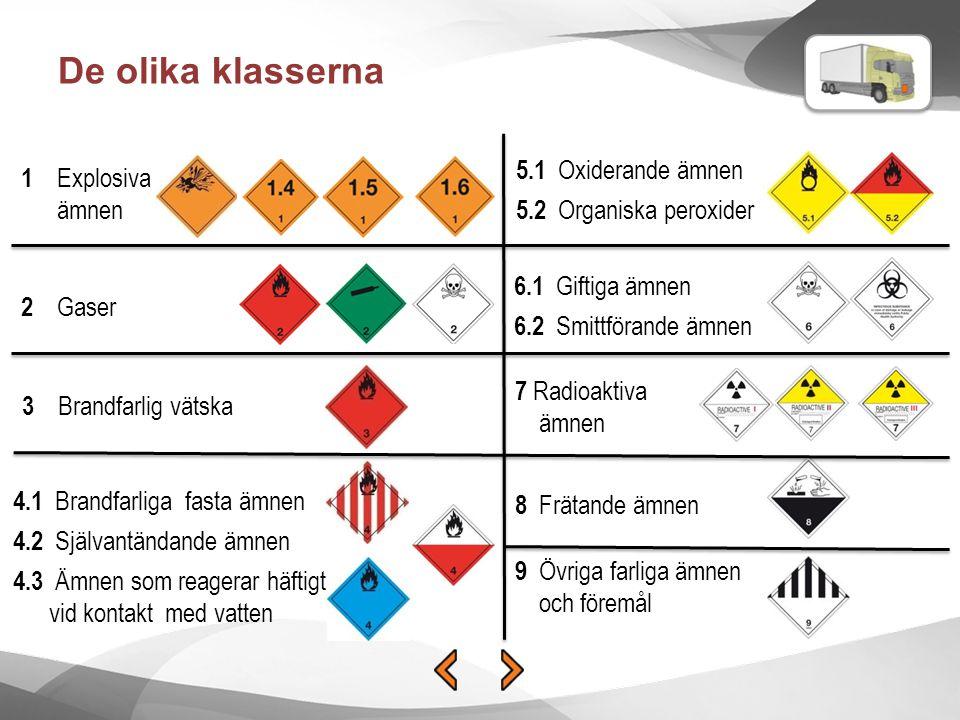 De olika klasserna 2 Gaser 1 Explosiva ämnen 3 Brandfarlig vätska 4.1 Brandfarliga fasta ämnen 4.2 Självantändande ämnen 4.3 Ämnen som reagerar häftig