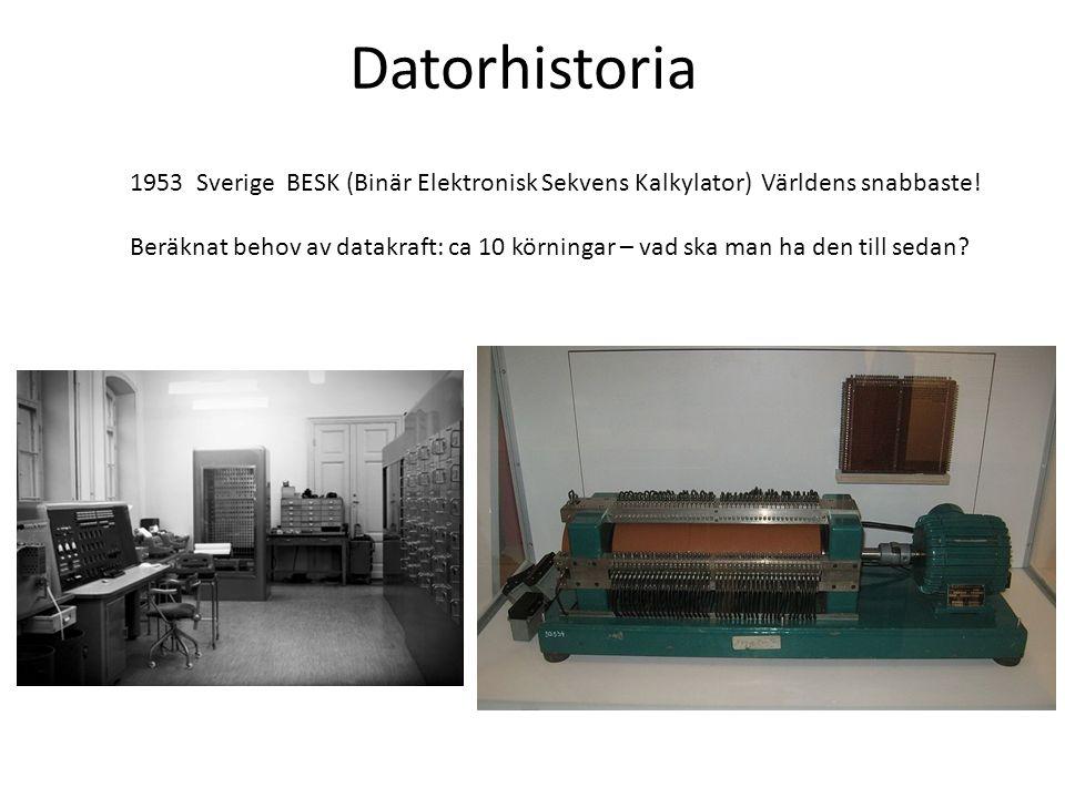 1953 Sverige BESK (Binär Elektronisk Sekvens Kalkylator) Världens snabbaste! Beräknat behov av datakraft: ca 10 körningar – vad ska man ha den till se