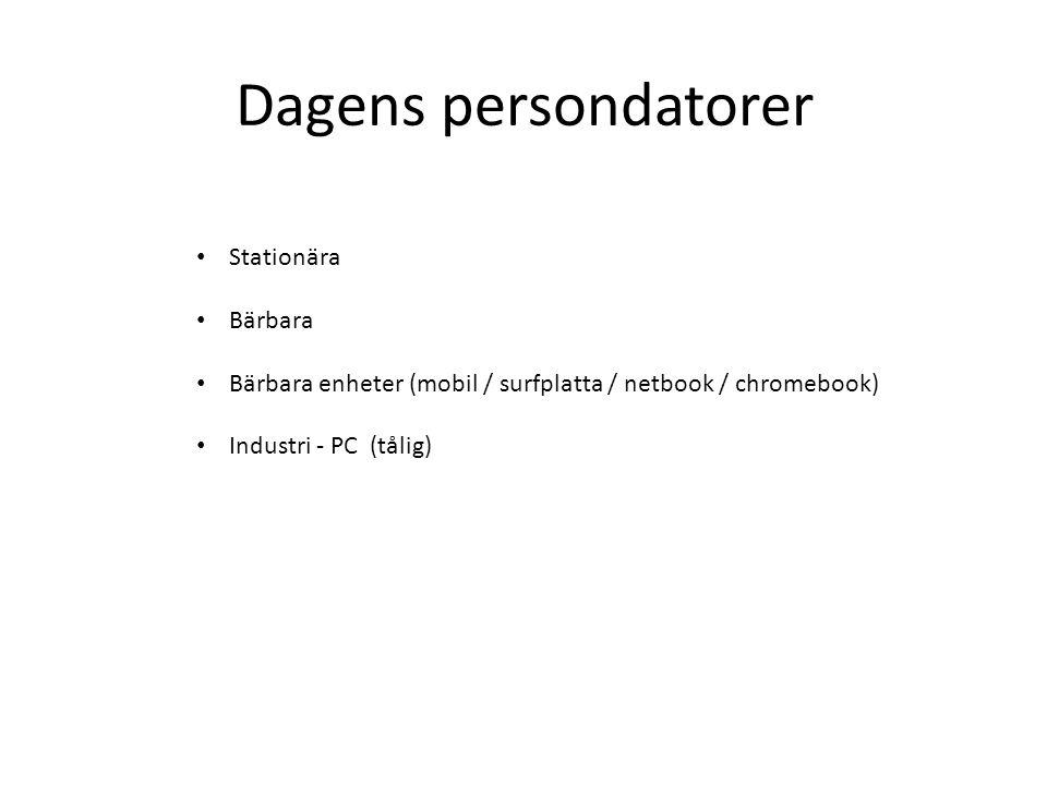 Dagens persondatorer Stationära Bärbara Bärbara enheter (mobil / surfplatta / netbook / chromebook) Industri - PC (tålig)