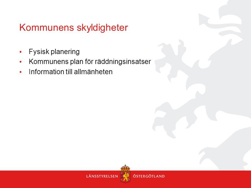 Kommunens skyldigheter Fysisk planering Kommunens plan för räddningsinsatser Information till allmänheten