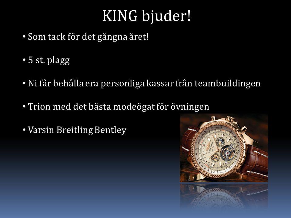 KING bjuder! Som tack för det gångna året! 5 st. plagg Ni får behålla era personliga kassar från teambuildingen Trion med det bästa modeögat för övnin