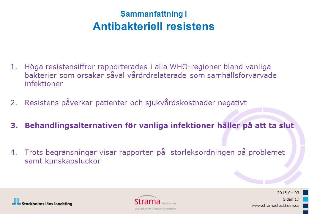 2015-04-03 Sidan 17 www.stramastockholm.se 1.Höga resistensiffror rapporterades i alla WHO-regioner bland vanliga bakterier som orsakar såväl vårdrdre