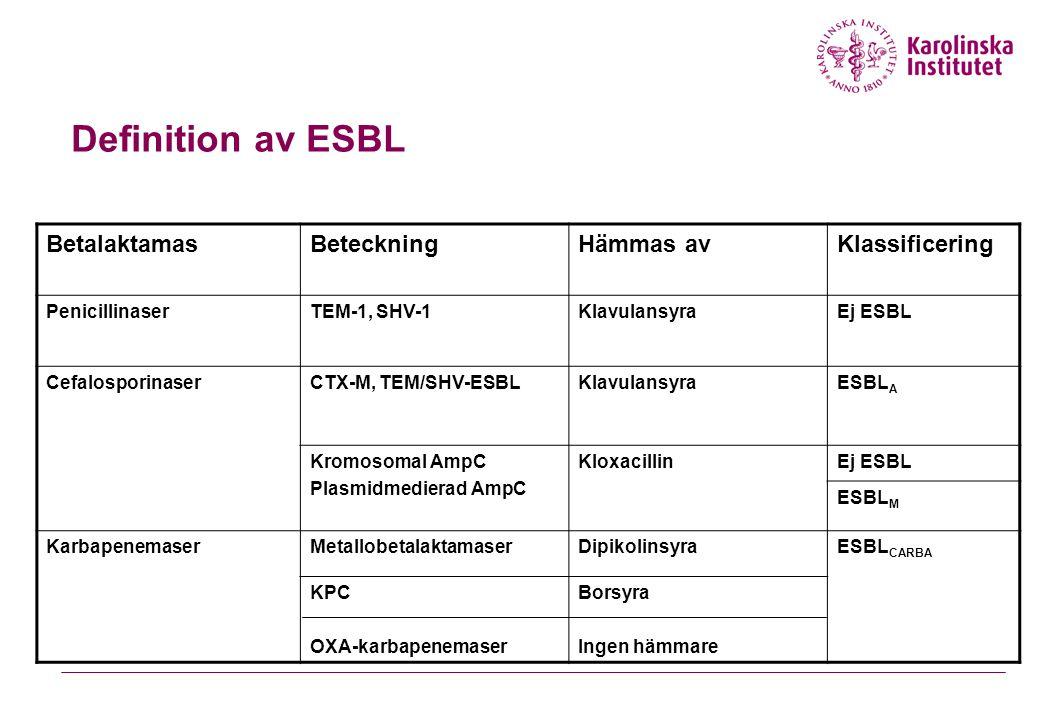 Definition av ESBL BetalaktamasBeteckningHämmas avKlassificering PenicillinaserTEM-1, SHV-1KlavulansyraEj ESBL CefalosporinaserCTX-M, TEM/SHV-ESBLKlav