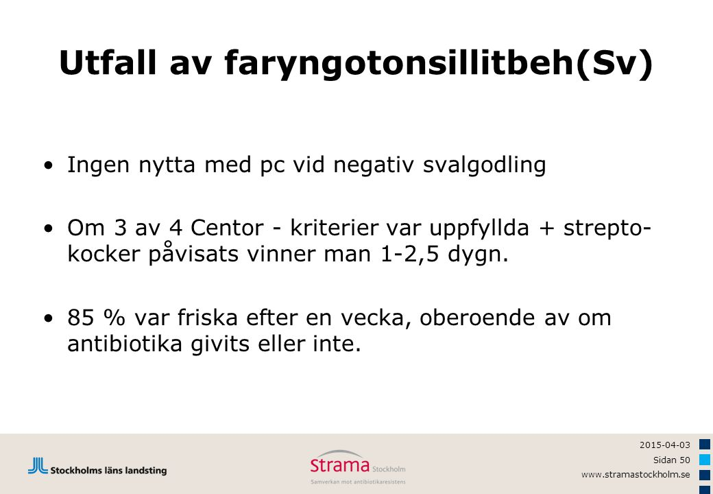 2015-04-03 Sidan 50 www.stramastockholm.se Utfall av faryngotonsillitbeh(Sv) Ingen nytta med pc vid negativ svalgodling Om 3 av 4 Centor - kriterier v