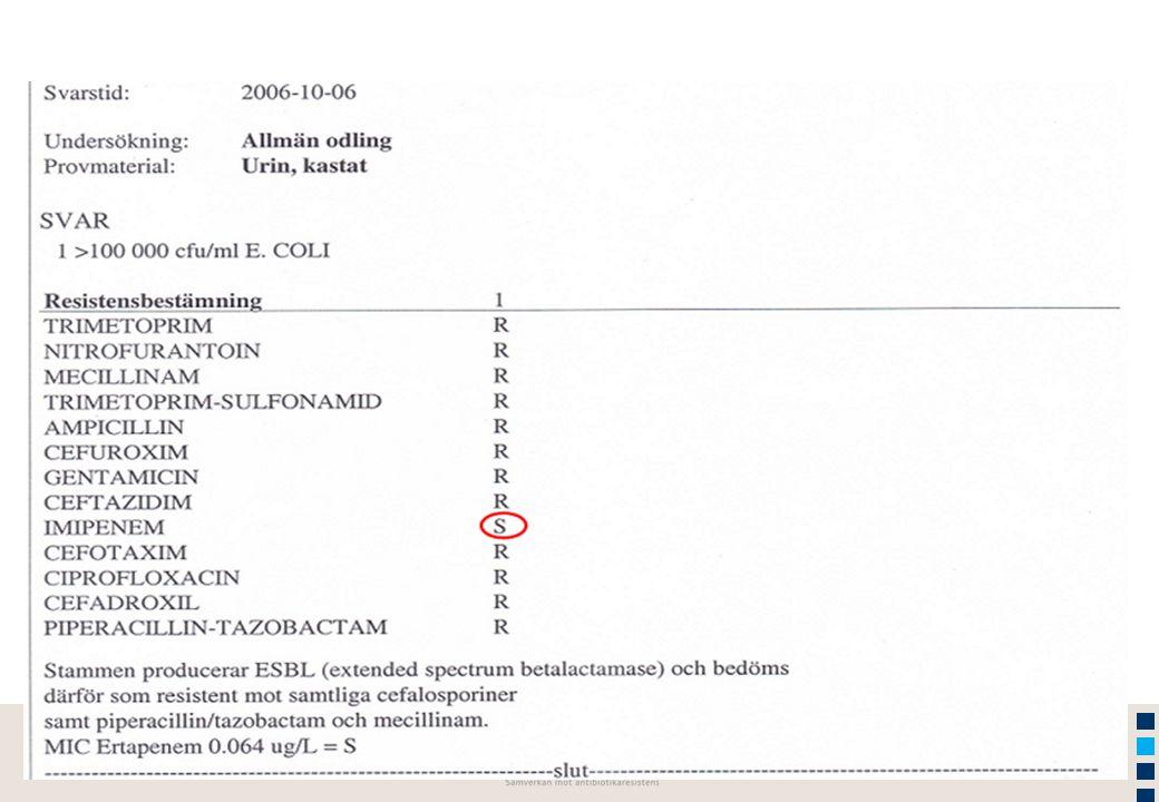 2015-04-03 Sidan 17 www.stramastockholm.se 1.Höga resistensiffror rapporterades i alla WHO-regioner bland vanliga bakterier som orsakar såväl vårdrdrelaterade som samhällsförvärvade infektioner 2.Resistens påverkar patienter och sjukvårdskostnader negativt 3.Behandlingsalternativen för vanliga infektioner håller på att ta slut 4.Trots begränsningar visar rapporten på storleksordningen på problemet samt kunskapsluckor Sammanfattning I Antibakteriell resistens