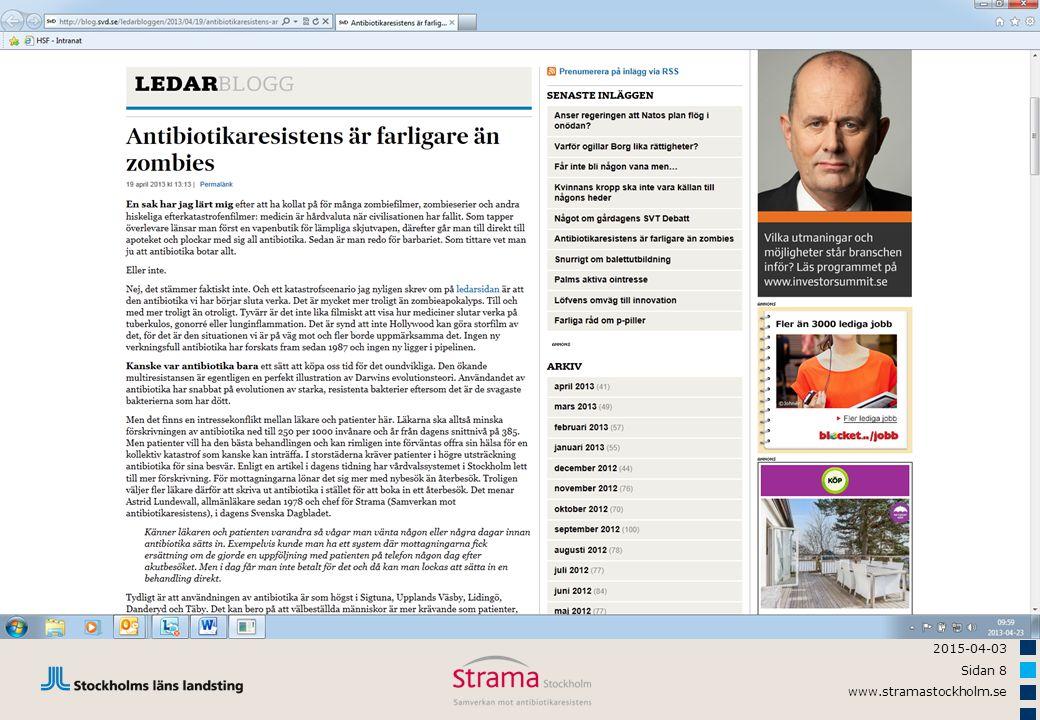 2015-04-03 Sidan 59 www.stramastockholm.se Akut bronkit, andel med antibiotika År 2011, fördelning deltagande enheter Mål < 20 %