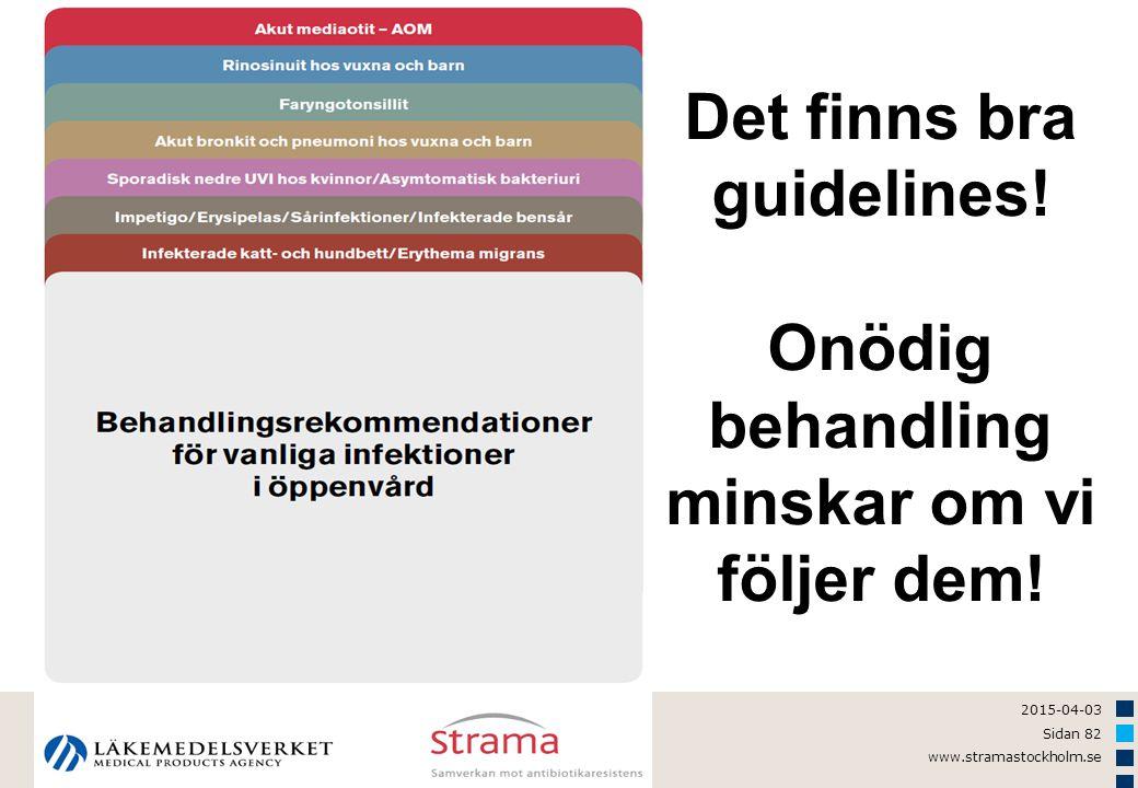 2015-04-03 Sidan 82 www.stramastockholm.se Det finns bra guidelines! Onödig behandling minskar om vi följer dem!