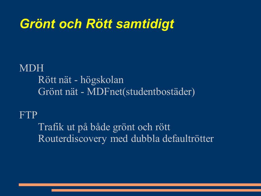 Grönt och Rött samtidigt MDH Rött nät - högskolan Grönt nät - MDFnet(studentbostäder) FTP Trafik ut på både grönt och rött Routerdiscovery med dubbla defaultrötter