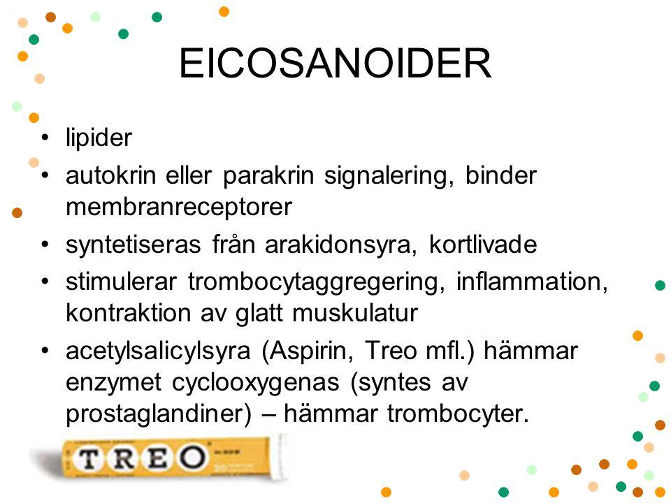 EICOSANOIDER lipider autokrin eller parakrin signalering, binder membranreceptorer syntetiseras från arakidonsyra, kortlivade stimulerar trombocytaggregering, inflammation, kontraktion av glatt muskulatur acetylsalicylsyra (Aspirin, Treo mfl.) hämmar enzymet cyclooxygenas (syntes av prostaglandiner) – hämmar trombocyter.