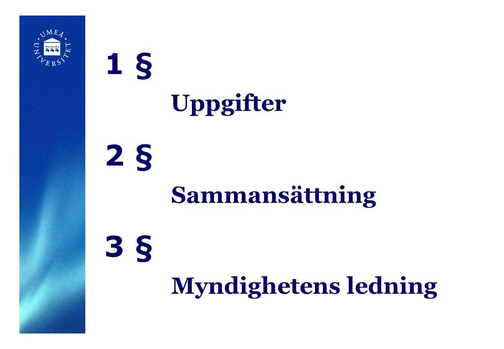 1 § Uppgifter 2 § Sammansättning 3 § Myndighetens ledning