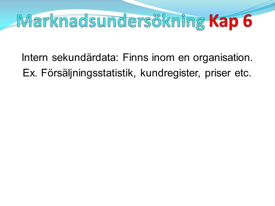 Intern sekundärdata: Finns inom en organisation.Ex.