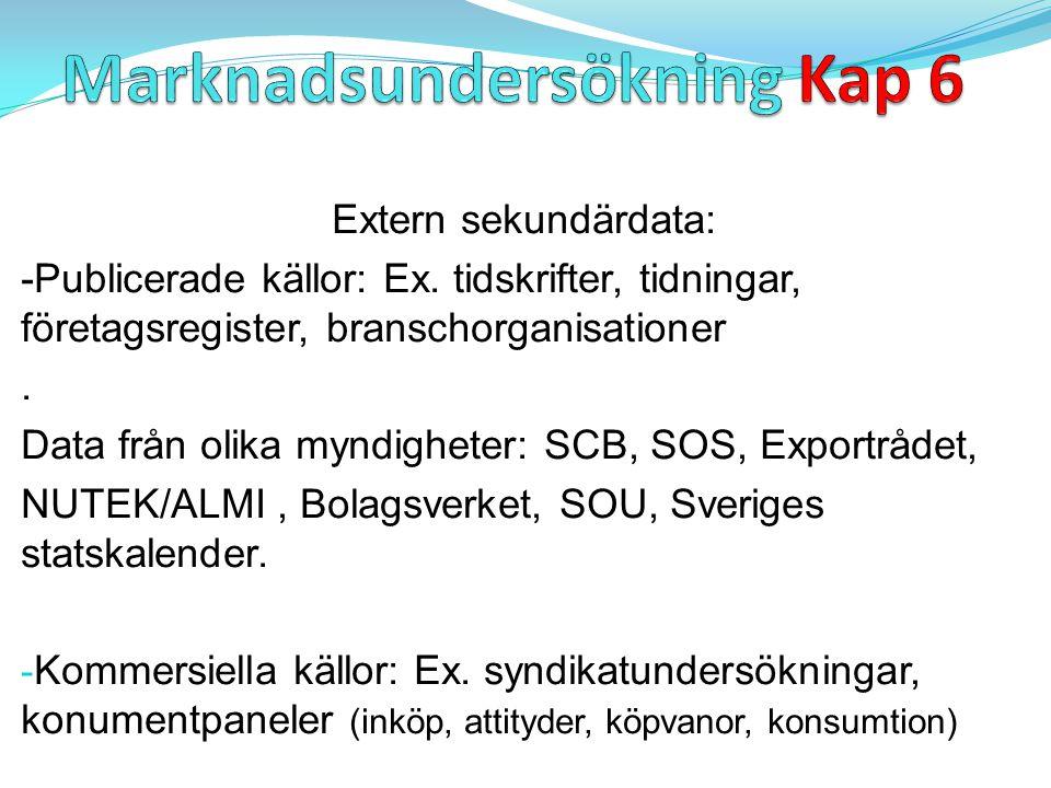 Extern sekundärdata: -Publicerade källor: Ex. tidskrifter, tidningar, företagsregister, branschorganisationer. Data från olika myndigheter: SCB, SOS,