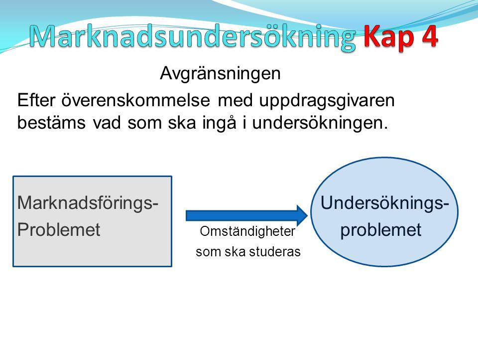 Undersökningsproblemet ska uppfylla följande: - Relevant - Förklaringsvärde (Går utanför avgränsningen till att gälla hela problemet.) - Praktisk genomförbarhet (Tid, kostnad.Värde > kostnad) Access (tillgång) till data måste finnas.