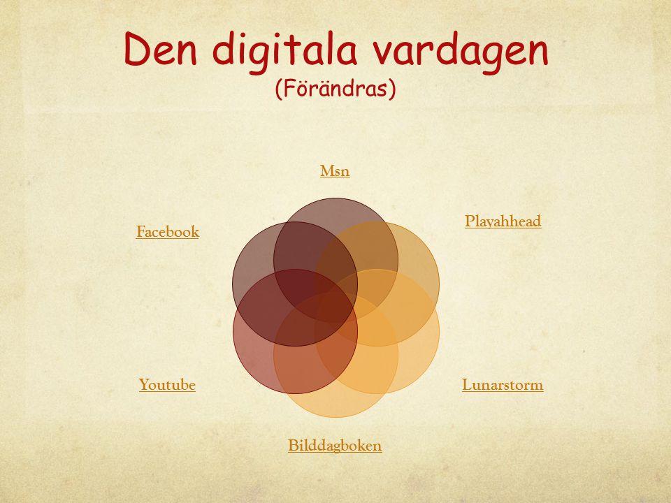 Den digitala vardagen (Förändras) Msn Playahhead Lunarstorm Bilddagboken Youtube Facebook