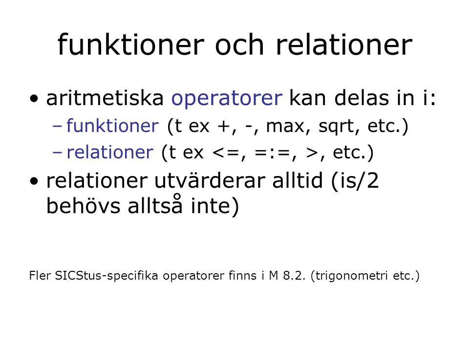 funktioner och relationer aritmetiska operatorer kan delas in i: –funktioner (t ex +, -, max, sqrt, etc.) –relationer (t ex, etc.) relationer utvärderar alltid (is/2 behövs alltså inte) Fler SICStus-specifika operatorer finns i M 8.2.