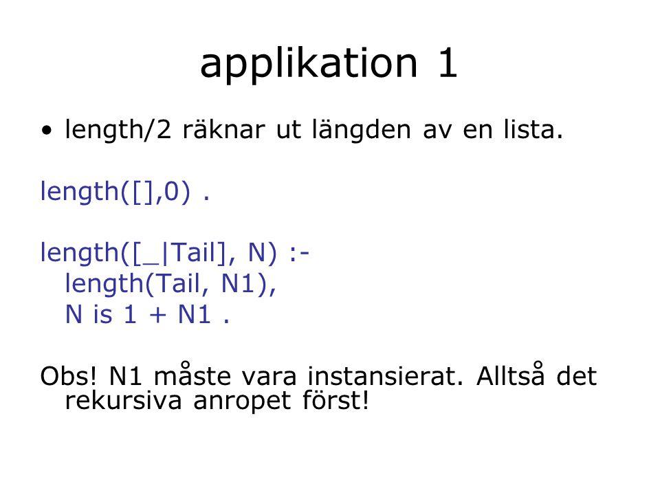 applikation 1 length/2 räknar ut längden av en lista. length([],0). length([_|Tail], N) :- length(Tail, N1), N is 1 + N1. Obs! N1 måste vara instansie
