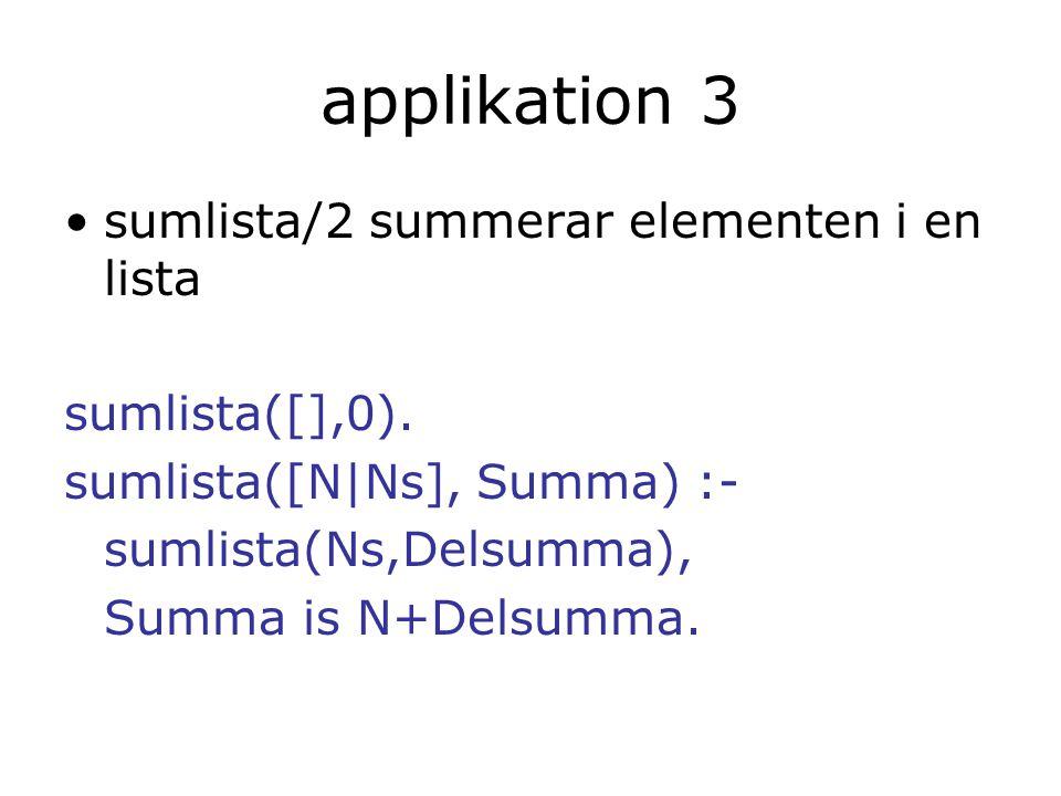 applikation 3 sumlista/2 summerar elementen i en lista sumlista([],0). sumlista([N|Ns], Summa) :- sumlista(Ns,Delsumma), Summa is N+Delsumma.