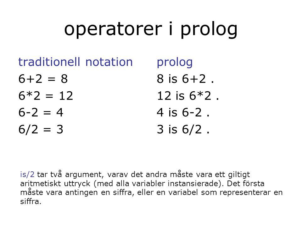 körning… ?- sumlista([3,4,2,2],S). S = 11