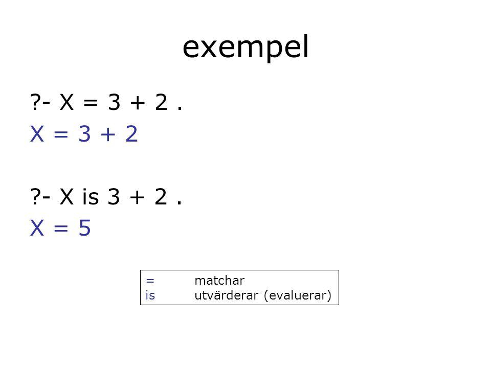 exempel - X = 3 + 2. X = 3 + 2 - X is 3 + 2. X = 5 =matchar isutvärderar (evaluerar)