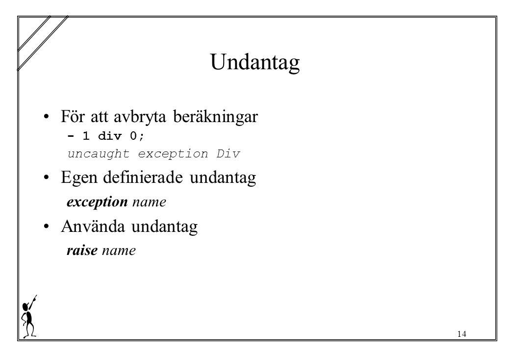 14 Undantag För att avbryta beräkningar - 1 div 0; uncaught exception Div Egen definierade undantag exception name Använda undantag raise name