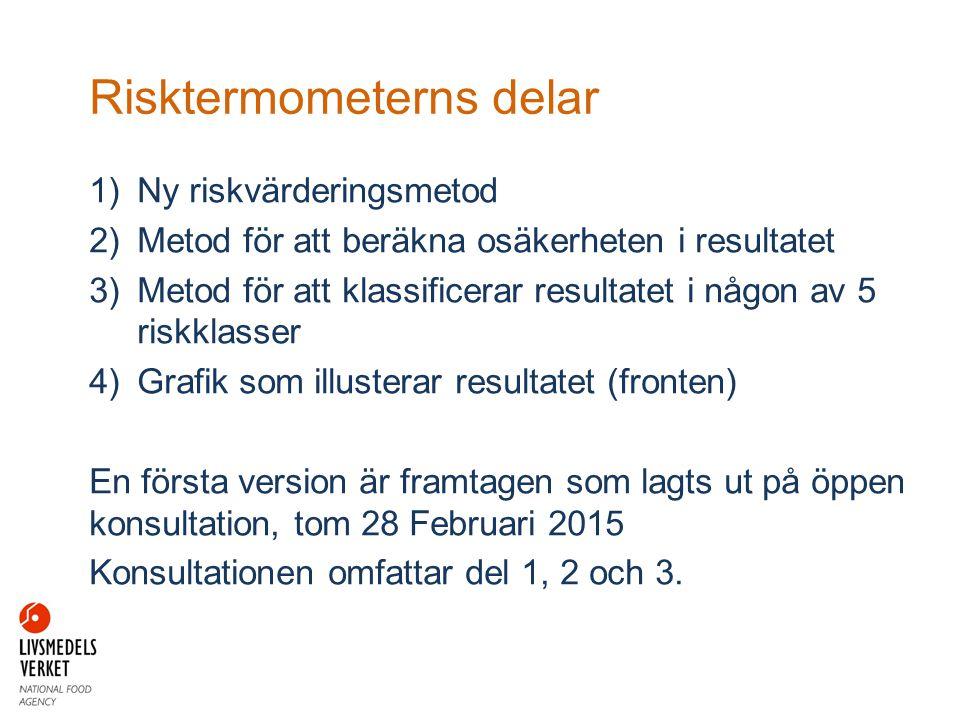Risktermometerns delar 1)Ny riskvärderingsmetod 2)Metod för att beräkna osäkerheten i resultatet 3)Metod för att klassificerar resultatet i någon av 5