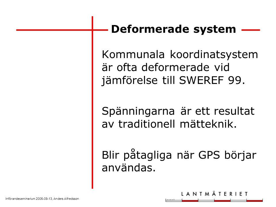 Införandeseminarium 2005-09-13, Anders Alfredsson Deformerade system Kommunala koordinatsystem är ofta deformerade vid jämförelse till SWEREF 99. Spän