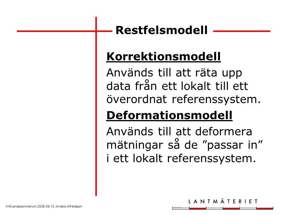 Införandeseminarium 2005-09-13, Anders Alfredsson Restfelsmodell Korrektionsmodell Används till att räta upp data från ett lokalt till ett överordnat referenssystem.