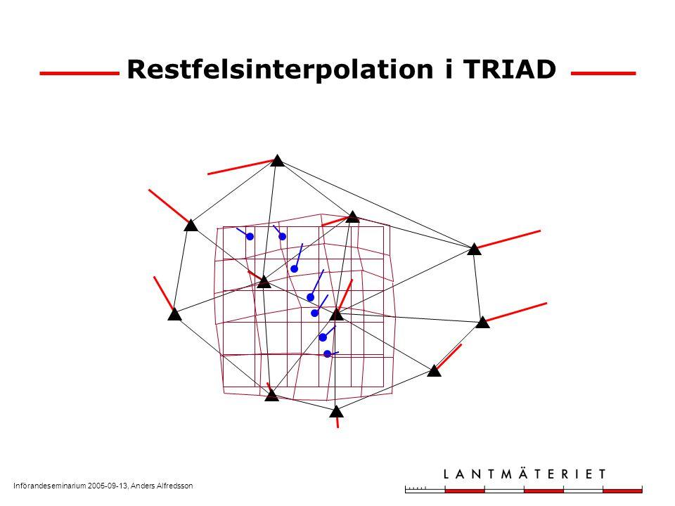 Införandeseminarium 2005-09-13, Anders Alfredsson Analys av restfelsvektorerna