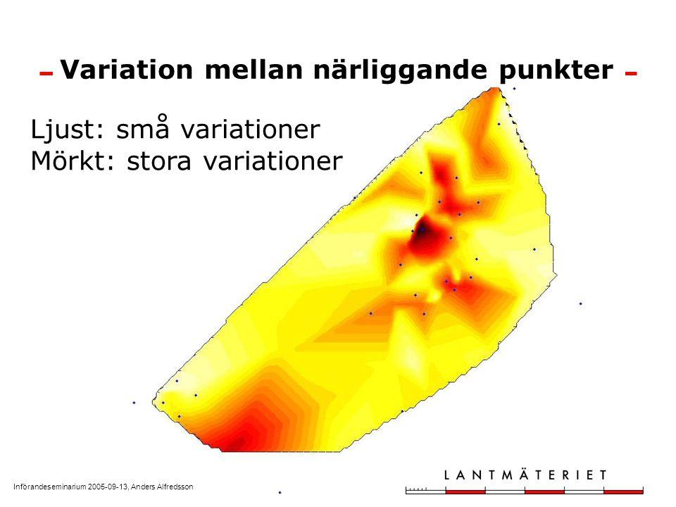 Införandeseminarium 2005-09-13, Anders Alfredsson Variation mellan närliggande punkter Ljust: små variationer Mörkt: stora variationer