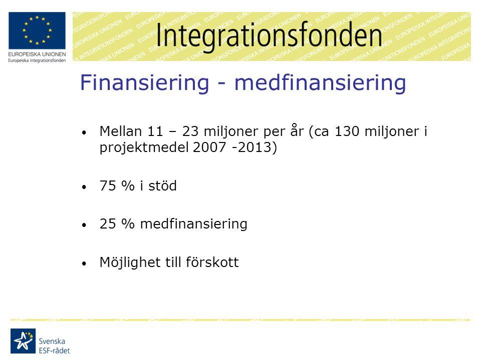Finansiering - medfinansiering Mellan 11 – 23 miljoner per år (ca 130 miljoner i projektmedel 2007 -2013) 75 % i stöd 25 % medfinansiering Möjlighet till förskott