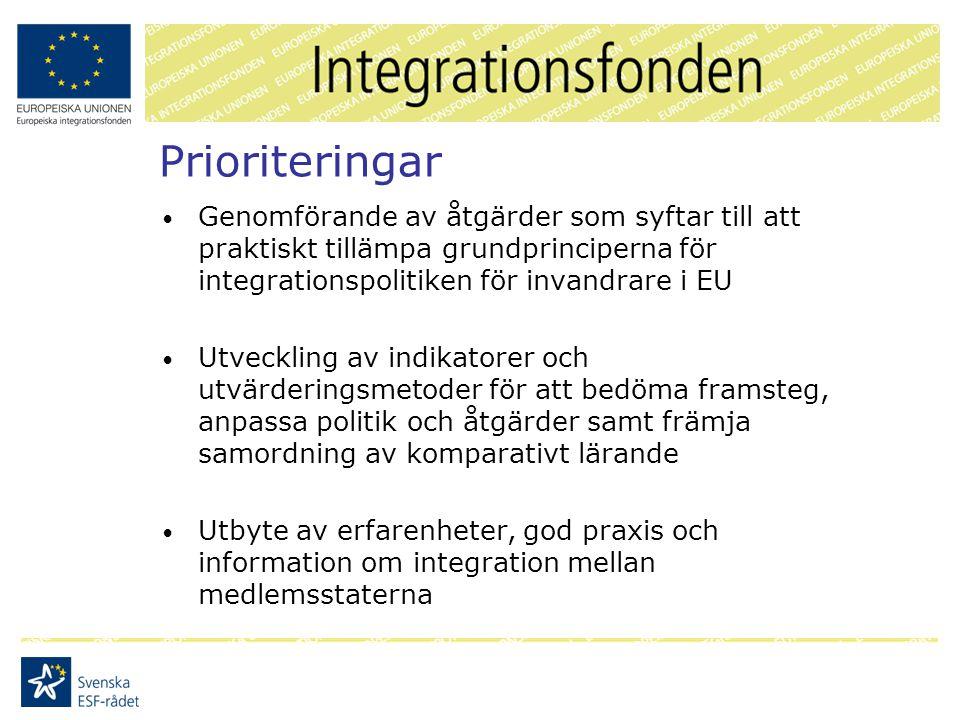 Prioriteringar Genomförande av åtgärder som syftar till att praktiskt tillämpa grundprinciperna för integrationspolitiken för invandrare i EU Utveckling av indikatorer och utvärderingsmetoder för att bedöma framsteg, anpassa politik och åtgärder samt främja samordning av komparativt lärande Utbyte av erfarenheter, god praxis och information om integration mellan medlemsstaterna
