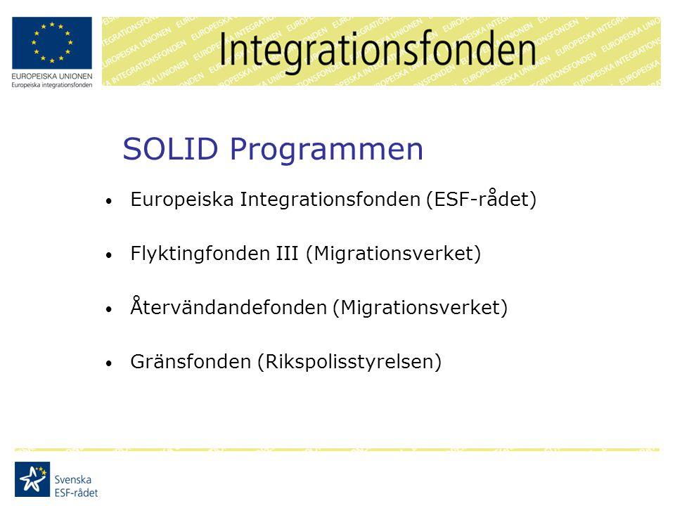 SOLID Programmen Europeiska Integrationsfonden (ESF-rådet) Flyktingfonden III (Migrationsverket) Återvändandefonden (Migrationsverket) Gränsfonden (Rikspolisstyrelsen)