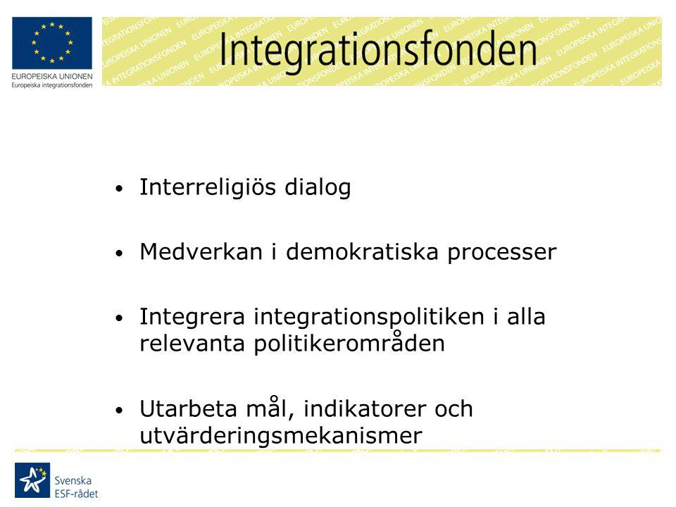 Interreligiös dialog Medverkan i demokratiska processer Integrera integrationspolitiken i alla relevanta politikerområden Utarbeta mål, indikatorer och utvärderingsmekanismer
