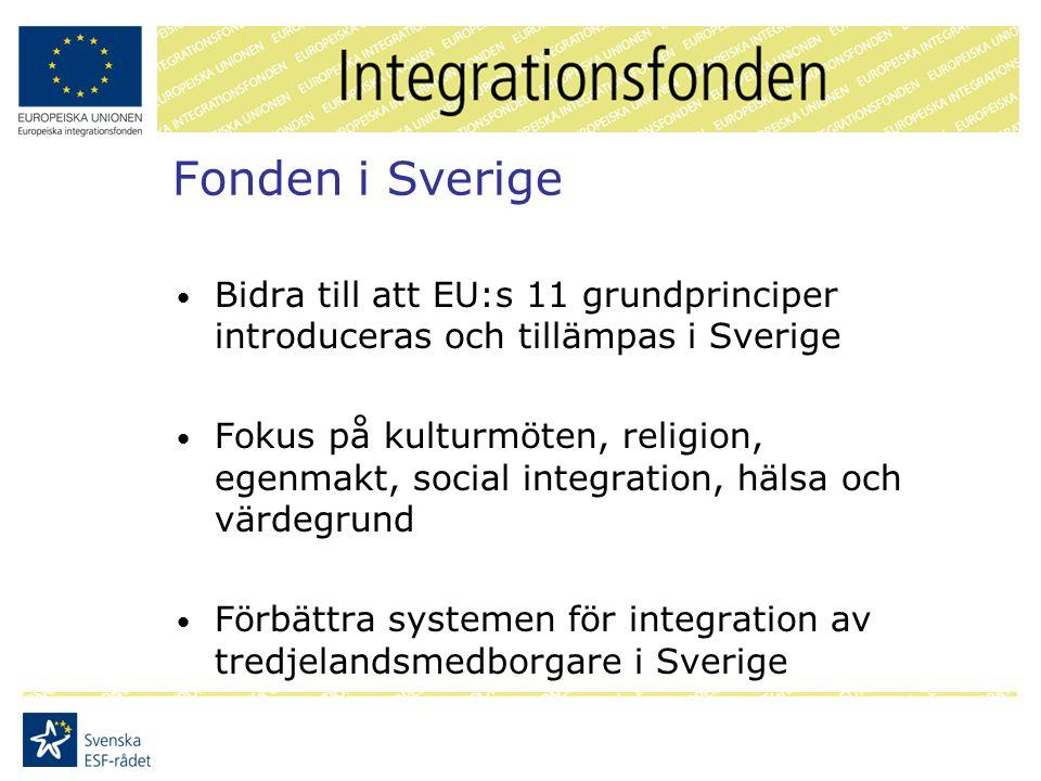 Fonden i Sverige Bidra till att EU:s 11 grundprinciper introduceras och tillämpas i Sverige Fokus på kulturmöten, religion, egenmakt, social integration, hälsa och värdegrund Förbättra systemen för integration av tredjelandsmedborgare i Sverige