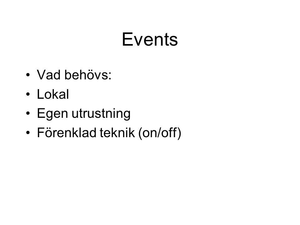 Events Vad behövs: Lokal Egen utrustning Förenklad teknik (on/off)