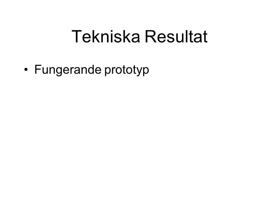 Tekniska Resultat Fungerande prototyp