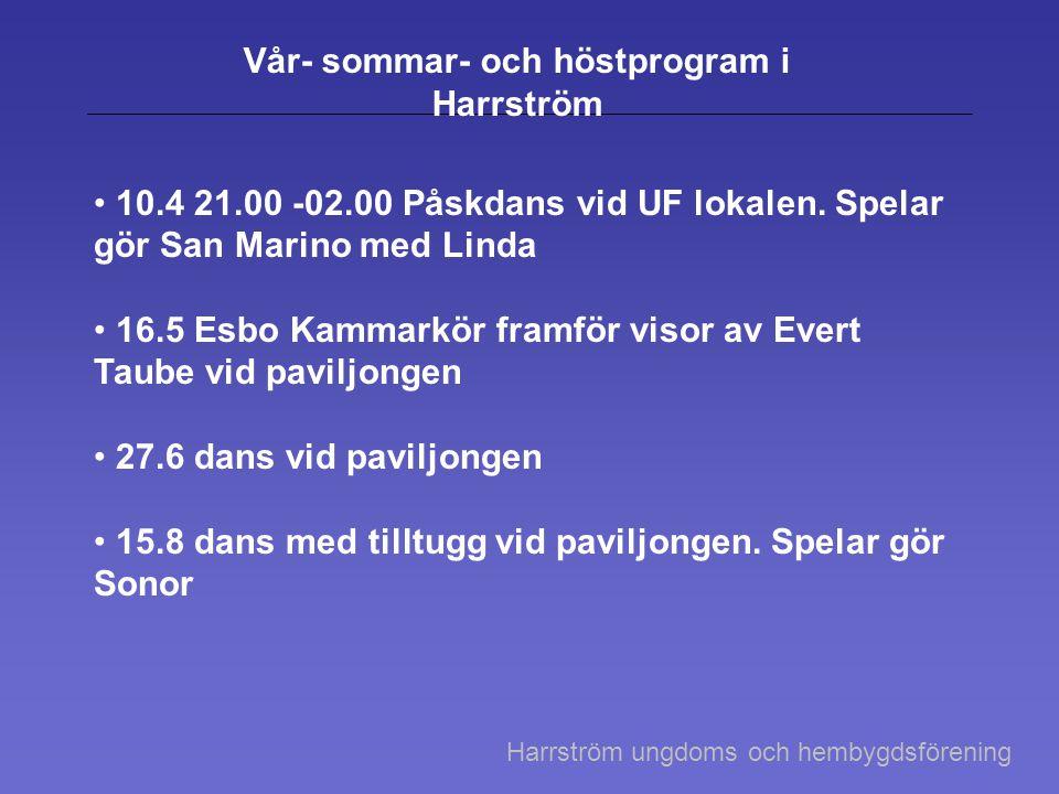 Vår- sommar- och höstprogram i Harrström 10.4 21.00 -02.00 Påskdans vid UF lokalen.