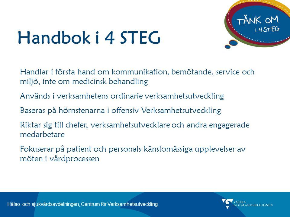 Hälso- och sjukvårdsavdelningen, Centrum för Verksamhetsutveckling Handbok i 4 STEG Handlar i första hand om kommunikation, bemötande, service och mil