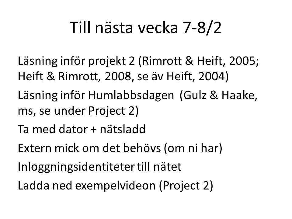 Till nästa vecka 7-8/2 Läsning inför projekt 2 (Rimrott & Heift, 2005; Heift & Rimrott, 2008, se äv Heift, 2004) Läsning inför Humlabbsdagen (Gulz & H