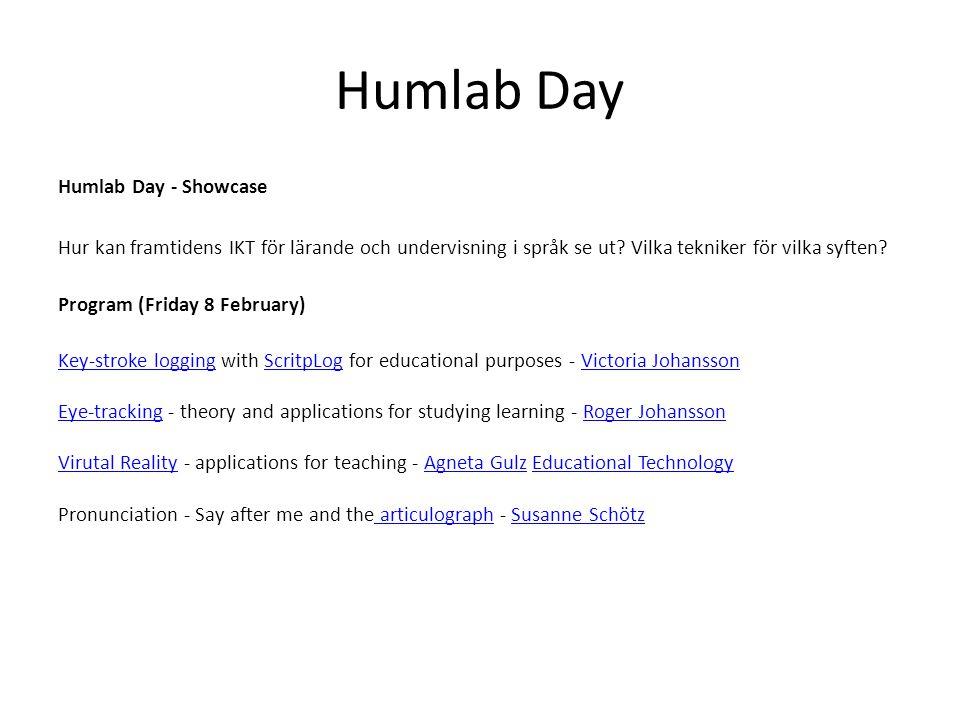 Humlab Day Humlab Day - Showcase Hur kan framtidens IKT för lärande och undervisning i språk se ut? Vilka tekniker för vilka syften? Program (Friday 8