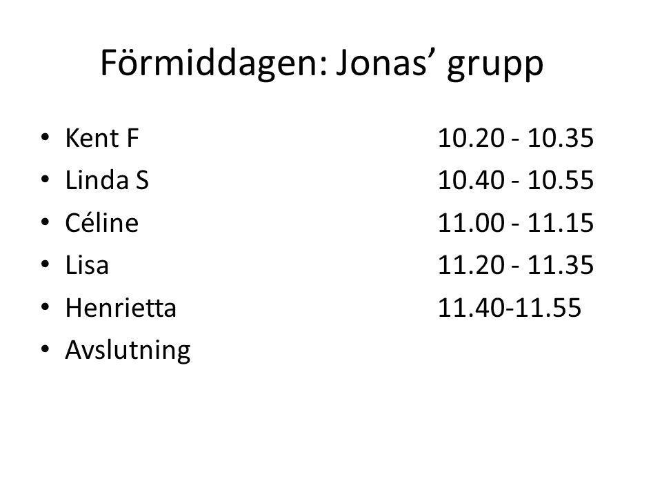 Förmiddagen: Jonas' grupp Kent F 10.20 - 10.35 Linda S 10.40 - 10.55 Céline 11.00 - 11.15 Lisa 11.20 - 11.35 Henrietta 11.40-11.55 Avslutning