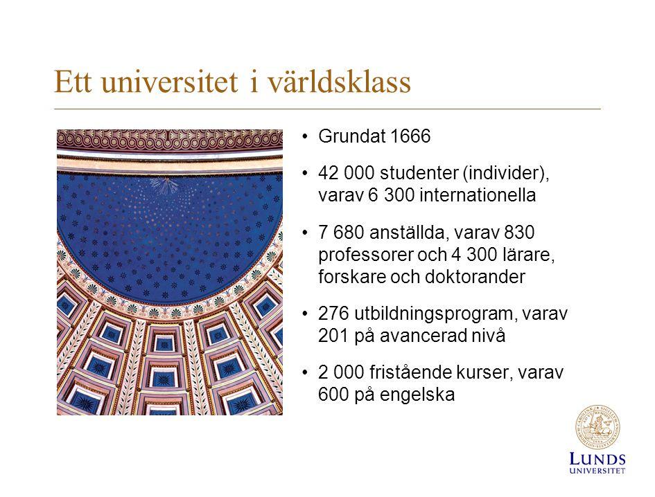 Ett universitet i världsklass Grundat 1666 42 000 studenter (individer), varav 6 300 internationella 7 680 anställda, varav 830 professorer och 4 300 lärare, forskare och doktorander 276 utbildningsprogram, varav 201 på avancerad nivå 2 000 fristående kurser, varav 600 på engelska