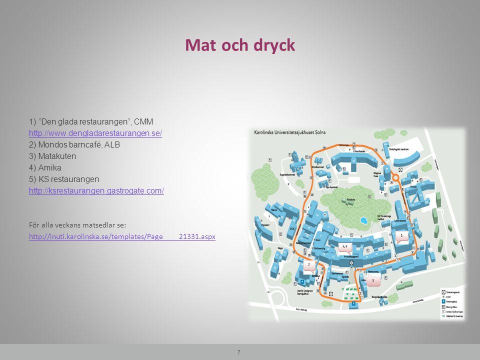 """Mat och dryck 7 1) """"Den glada restaurangen"""", CMM http://www.dengladarestaurangen.se/ 2) Mondos barncafé, ALB 3) Matakuten 4) Amika 5) KS restaurangen"""